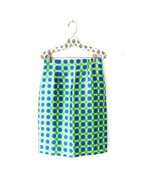 Vintage • bleistiftrock • high waist • midi • grün • blau