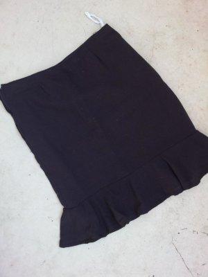 Vintage Bleistiftrock / Pencil Skirt in 36, Schwarz, Volants-Saum
