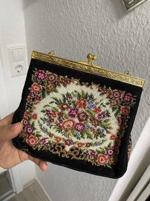 Vintage Blumen bestickte Tasche schwarz gold