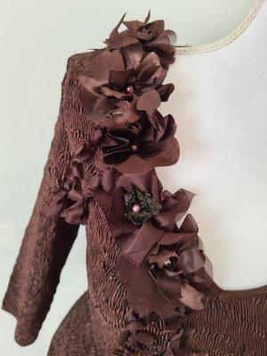 Vintage Blumen Plissee Pullover Oberteil Top in dunkel braun XS