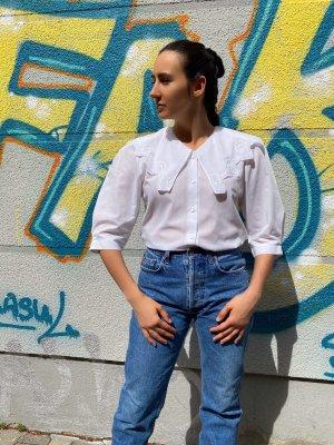 Real Vintage Bluzka z falbankami biały
