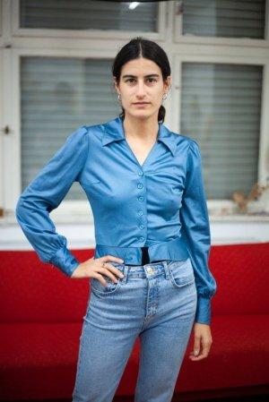 Vintage Colletto camicia blu fiordaliso Acrilico