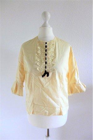 Vintage Bluse 70er 80er hellgelb braun Spitze Gr. 36/38 S