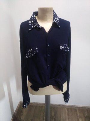 Vintage Bluse 90s y2k Viskose dunkelblau ripped Gr. M / L