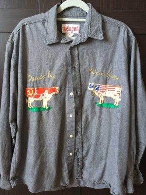 Vintage Blouse en jean gris ardoise
