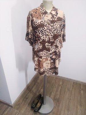 Vintage Bluse beige braun schwarz Leoprint Gesichter Gr. M-XL