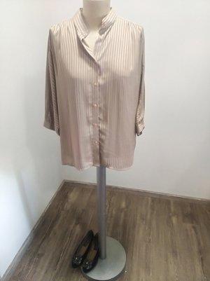 Vintage Bluse beige gestreift transparent Oversize Gr. 40/42