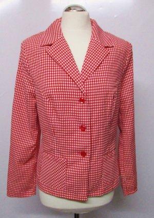 Vintage Bluse Blazer Gr. 42 L Pepita Rot Weiß Karo Kariert Leichte Jacke Rockabilly Hemd Retro