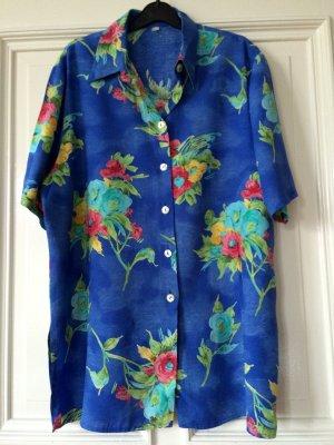 Vintage Bluse Blumen Flowers Blau bunt Trend Blogger