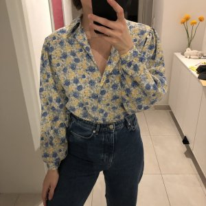 Vintage Bluse Blumenmuster Silk Blend Seide Floral Puffärmel Shirt