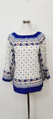 Vintage Love Blouse Carmen blanc-bleu
