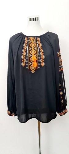 Vintage Bluse/ Bohoo Style / Schwarz-orange / Folklore Muster