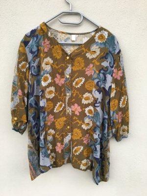 Vintage Bluse braun geblümt