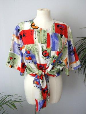 Vintage Bluse bunt grafisch, oversized Bluse 80er, blogger alternative