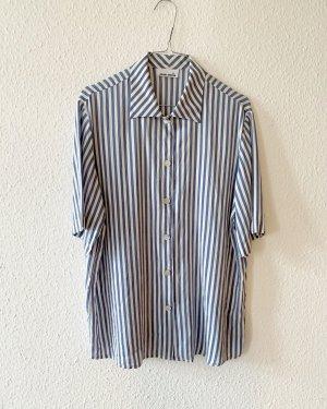 Gerry Weber Jedwabna bluzka biały-stalowy niebieski