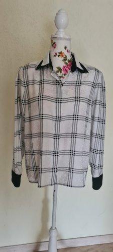 Louis Feraud Glanzende blouse wit-donkerblauw Polyester