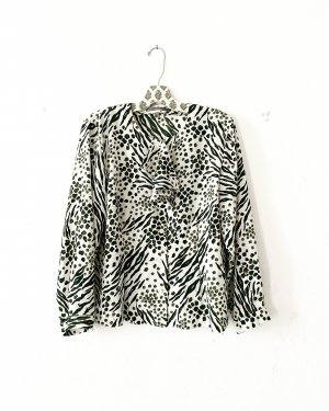 vintage bluse • creme • dunkelgrün • volant