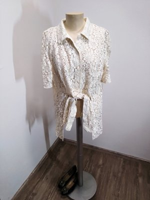 Vintage Bluse Creme / Ivory Lochstickerei Gr. 38/40