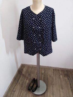 Vintage Bluse dunkelblau weiß gepunktet Polka Dots Oversize M-XL