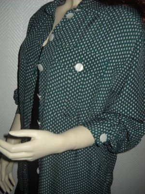 Vintage Bluse dunkelgrün Punkte Dots Rauten Claudio C oversize 36 38 40 XS S H M