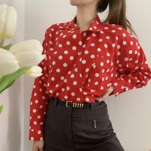 Vintage Bluzka oversize biały-czerwony