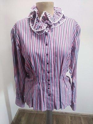 Vintage Bluse gestreift Rüschenkragen Schößchen Gr. S/M