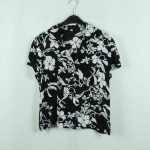 Vintage Bluse Gr. 40 schwarz weiß geblümt (20/07/035*)