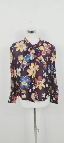VINTAGE  70er Blouse avec noeuds gris lilas