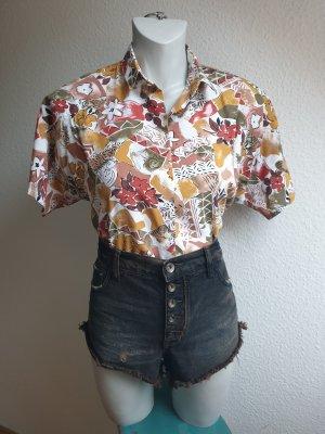 Vintage Bluse / Hemd in Herbstfarben mit Blumenmuster