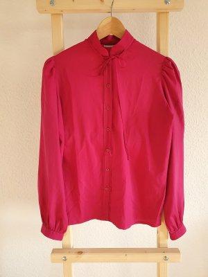Vintage-Bluse in pink mit leichten Puffärmeln