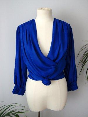 Vintage Bluse königsblau 90er, geraffte Bluse, blogger