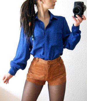 Vintage Bluse königsblau, oversized Bluse mit Kringel-Muster, preppy 80er alternative