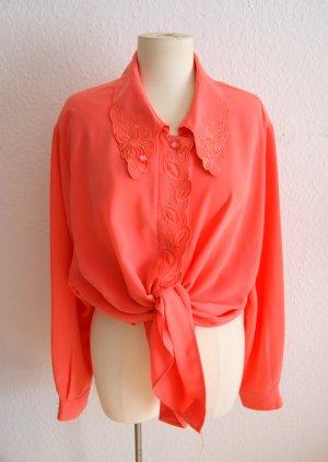 Vintage Bluse korallenrot 90er, oversized Bluse mit Stickerei, preppy alternative