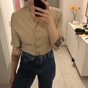 Vintage Bluse Kurzarm Jäckchen Blazer 80er mit Schulterpolstern Silk Blend Seide tailliert