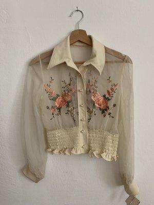 Vintage Bluse mit gestickten Blumen