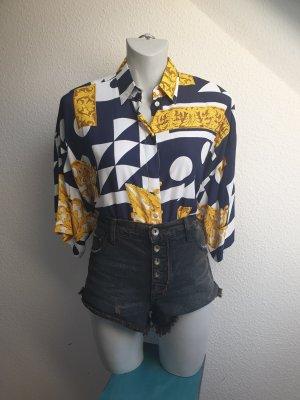 Vintage Bluse mit royalem Motivprint, Oversize