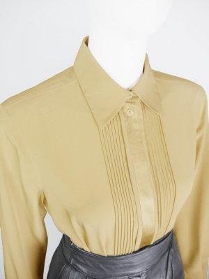 Vintage Bluse mit Satinblende und Plisseefalten