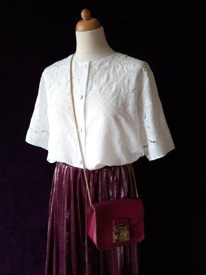 Original Vintage Blusa in merletto bianco