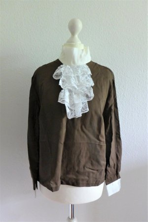 Vintage Bluse Oberteil Volants Spitze Langarm braun weiß 80er Gr. 38/40 M