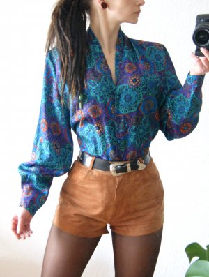 Vintage Bluse ornamental-bunt, oversized Bluse floral, 70er boho hippie