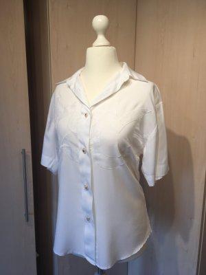 Vintage Shirt met korte mouwen wit-limoen geel