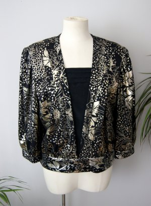 Vintage Bluse schwarz-gold 80er, verspielte Bluse floral, blogger alternative