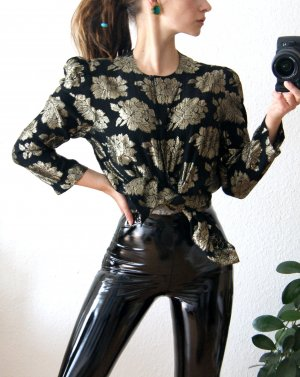 Vintage Bluse schwarz-gold, florale Bluse, boho preppy alternative