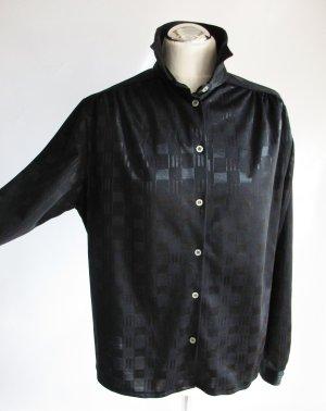 Vintage Bluse Schwarz Größe 40 42 Karo Satin Glanz Kurzbluse Rockabilly Hemd