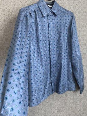 Vintage Bluse Seide Stahlblau gemustert
