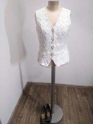 Vintage Bluse / Top Häkelspitze Creme ivory Gr. S