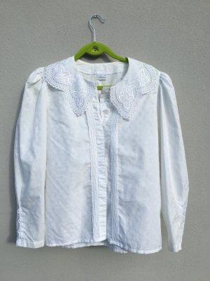 Vintage Bluse weiß 38 mit Spitze