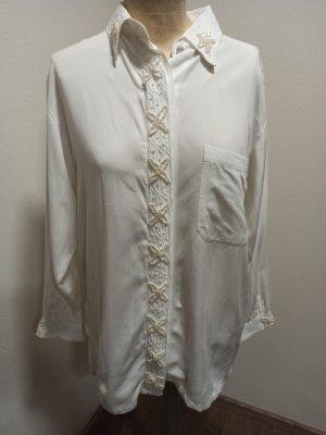 Vintage Bluse weiß bestickt Perlen Sterne Seesterne Viskose Gr. S-L