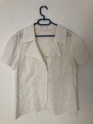 Vintage Bluse weiß mit Blumenstickerei