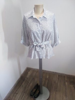 Vintage Bluse weiß schwarz gepunktet glänzend Gr. L